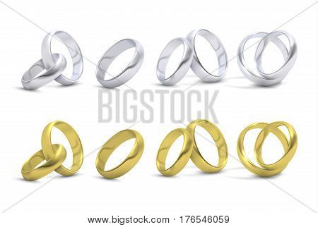 Gold and silver wedding, engagement rings isolated on white vector. Metal shiny rings for marriage, illustration of golden rings to ceremony