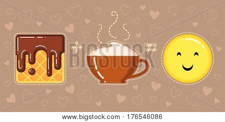 vector illustration of waffle with chocolate glaze cappuccino cup and smiling yellow face on brown background with hearts