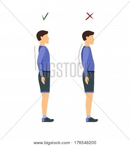 Correct and Incorrect Standing and Walking Posture Man. Health Care Concept. Flat Design Style Vector illustration