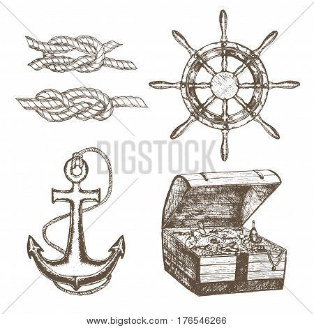 Sailor Equipment Set Hand Draw Sketch Ship Anchor, Treasure Chest, Steering Wheel and Knot Twisted Rope. Retro Vintage Style. Vector illustration