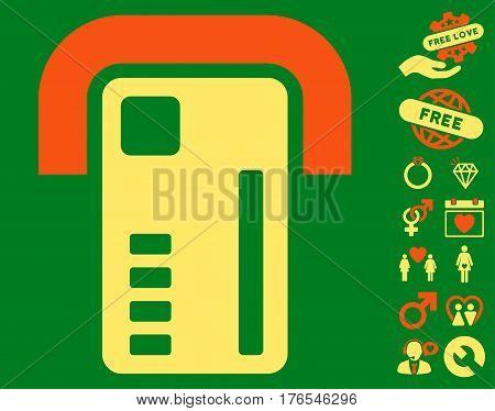 ATM Machine icon with bonus amour design elements. Vector illustration style is flat iconic symbols on white background.