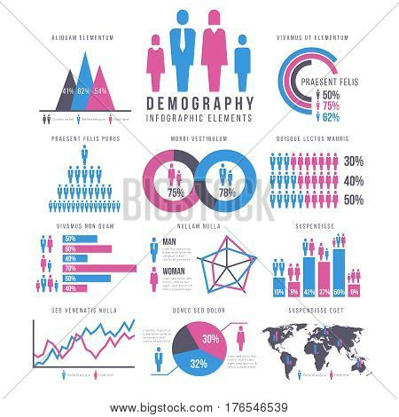 People, adult and child, human, people, family infographics vector signs and charts. Infograph report about population, visualization chart human population illustration