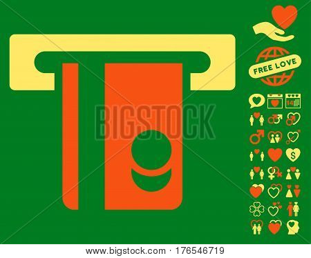 Automated Banking Service pictograph with bonus amour pictures. Vector illustration style is flat iconic symbols on white background.
