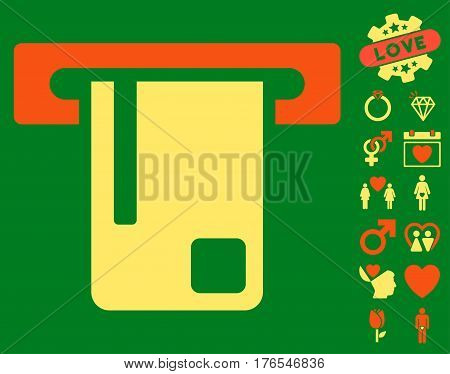 Bank ATM icon with bonus love pictograms. Vector illustration style is flat iconic symbols on white background.