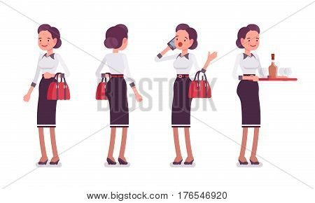 Set of young attractive secretary in a elegant formal wear, standing pose, personal assistant, attending telephone calls, arranging catering, full length, front, rear view isolated, white background