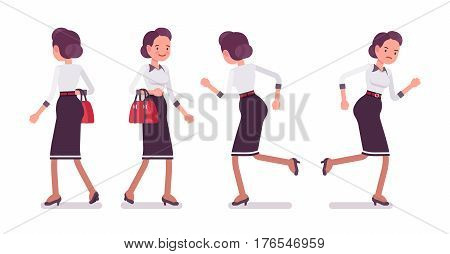 Set of young attractive secretary in a elegant formal wear, walking, running pose, personal assistant, carrying administrative duties in a hurry, full length, front, rear view, white background