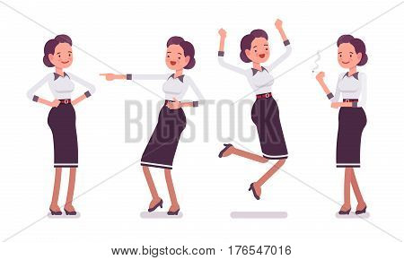 Set of young attractive smiling secretary in a elegant formal wear, showing positive emotions, skilled executive assistant jumping with joy, celebrating and mocking, full length, white background