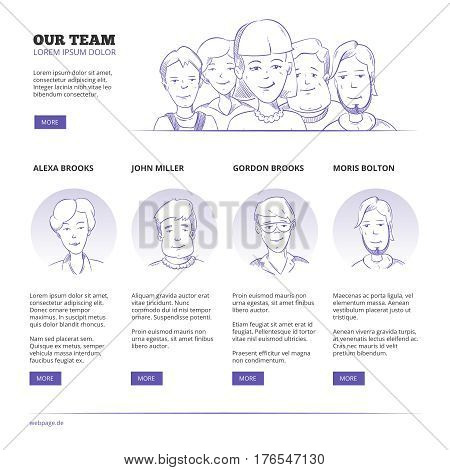 Creative business people, business outsourcing, teamwork vector concept with hand drawn sketch characters. People team, partnership and manager, web page with professional people illustration
