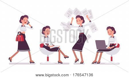 Set of young attractive secretary, personal assistant, carrying administrative duties, walking, sitting, stamping feet with anger, working with laptop, office scenes, full length, white background
