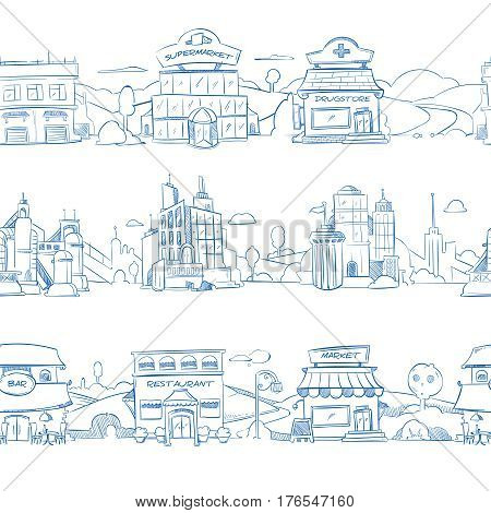 City retail buildings, store, supermarket and restaurant in hand drawn line doodle style. Seamless street with bar and drugstore, illustration of sketch city street