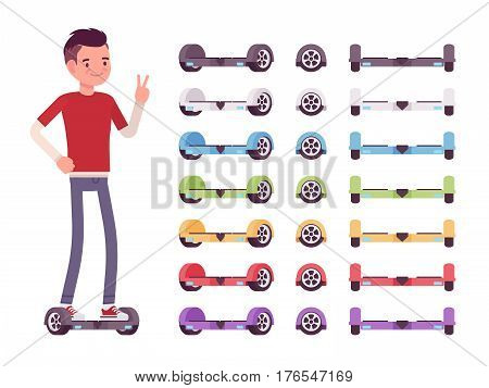 Handsome smiling boy standing on the modern gyroscooter, set of self-balancing scooters, hoverboard for outdoor youth sport activity, positive emotions and fun for teens, full length, white background