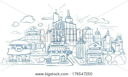 City landscape with modern buildings pencil sketch, hand drawn, doodle vector illustration. Facade of store supermarket city, district outline with facade restaurant and drugstore