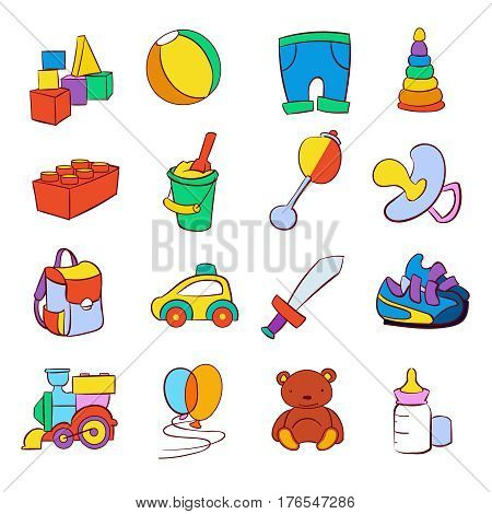 Hand drawn cartoon baby toys vector set. Childish toy car and pyramid, illustration of pinwheel and locomotive for childish play game