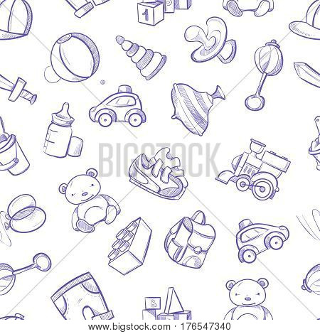 Children doodle vector background with toys. Cute hand drawn kids seamless pattern with doodle sketch toys bear and ball. illustration of train and car toys