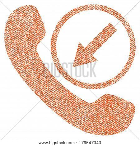 Incoming Call vector textured icon for overlay watermark stamps. Fabric orange vectorized texture. Symbol with dirty design. Rubber seal stamp with fiber textile structure.