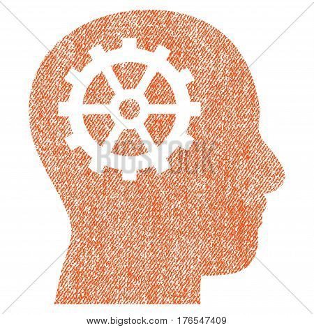 Intellect vector textured icon for overlay watermark stamps. Fabric orange vectorized texture. Symbol with unclean design. Rubber seal stamp with fiber textile structure.