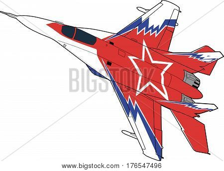 Landing of russian jet fighter aircraft. Technichal draw. Isolated on white background.