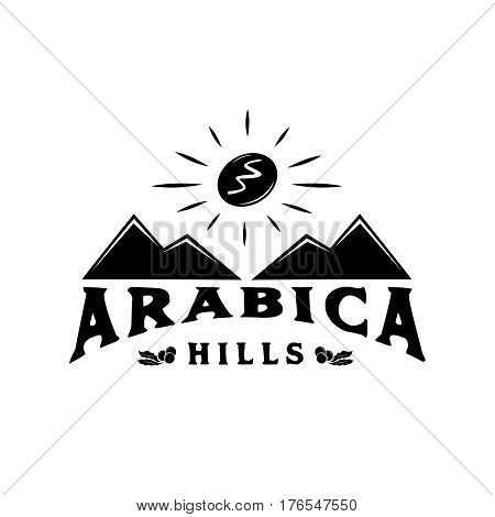 arabica hill coffee logo with mountain and coffee bean