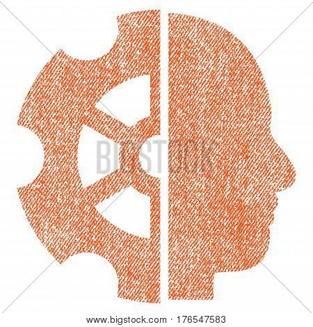 Intellect vector textured icon for overlay watermark stamps. Fabric orange vectorized texture. Symbol with dirty design. Rubber seal stamp with fiber textile structure.
