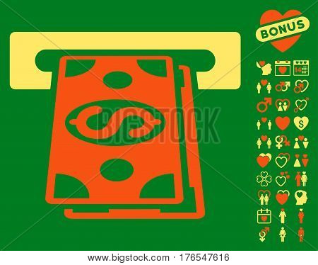 Cash Withdraw pictograph with bonus passion icon set. Vector illustration style is flat iconic symbols on white background.