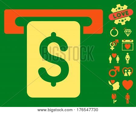 Cash Withdraw pictograph with bonus love graphic icons. Vector illustration style is flat iconic symbols on white background.