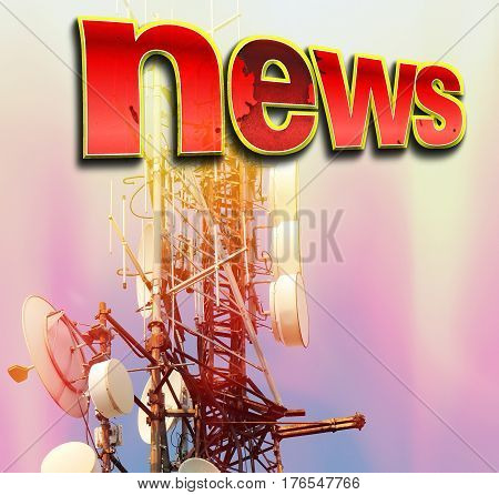 Telecommunication tower Antenna with red word NEWS.