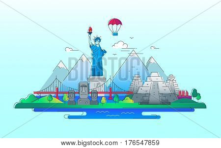 America - modern vector line travel illustration. Discover the New World continent. Have a trip, enjoy your vacation. Be on a journey. See landmarks like stature of liberty, brooklyn bridge, mayan temple