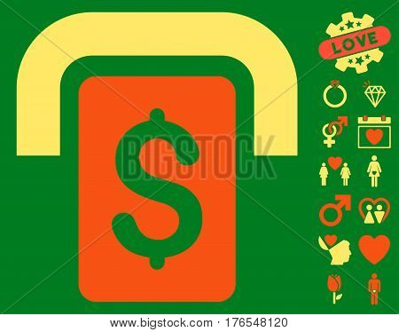 Cashpoint pictograph with bonus romantic pictures. Vector illustration style is flat iconic symbols on white background.