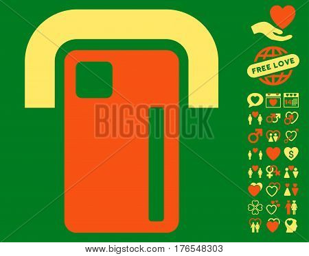 Payment Terminal pictograph with bonus amour graphic icons. Vector illustration style is flat iconic symbols on white background.