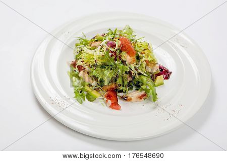 Healthy Chicken Salad With Fresh Lettuce And Arugula And Slices Of Fruit