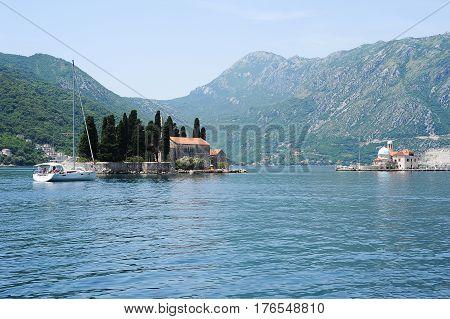 San George's island, Montenegro - 24 June 2014: San George's island on Kotor bay Montenegro