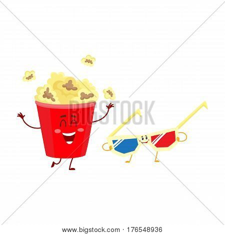 Cinema popcorn and 3D stereoscopic glasses characters with smiling human faces, cartoon vector illustration isolated on white background. Popcorn bucket and 3D glasses characters, mascots, symbols