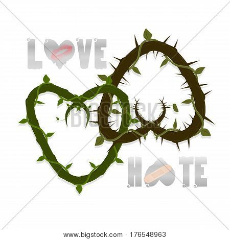 vector two hearts intertwined. spines in different directions. inscriptions of love and hate. trace of lipstick