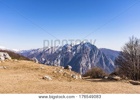 View from Monte San Simeone to Monte Chiampon in Italy