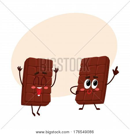 Two funny chocolate bar characters, one jumping excitedly, another standing like star, cartoon vector illustration with place for text. Couple of funny chocolate characters, mascots