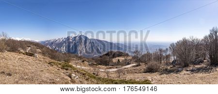 Panorama from Monte San Simeone to Monte Chiampon and Friuli-Venezia Giulia near Udine and Gemona