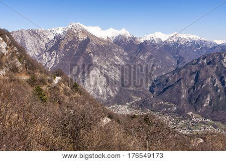 View from Monte San Simeone to Venzone and Julian Alps in Italy