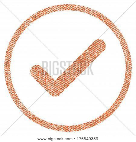 Ok vector textured icon for overlay watermark stamps. Fabric orange vectorized texture. Symbol with unclean design. Rubber seal stamp with fiber textile structure.