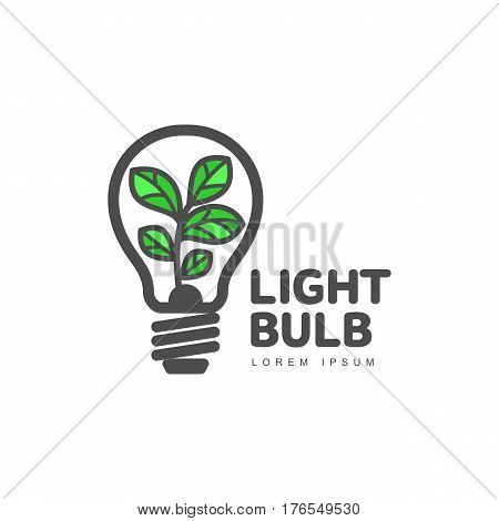 Logo template with plant growing inside light bulb, ecology, growth, development concept, vector illustration isolated on white background. Line art logotype, logo design with light bulb and plant