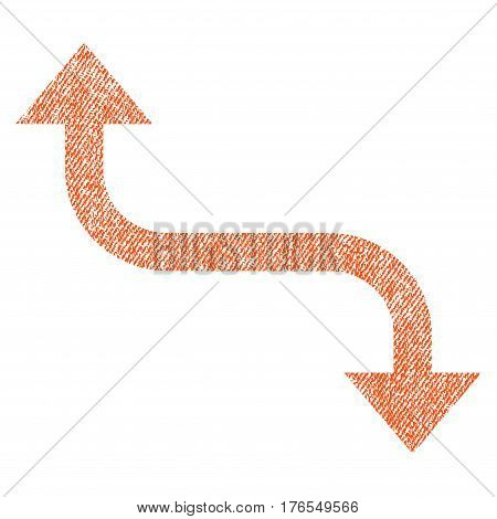 Opposite Bend Arrow vector textured icon for overlay watermark stamps. Fabric orange vectorized texture. Symbol with scratched design. Rubber seal stamp with fiber textile structure.