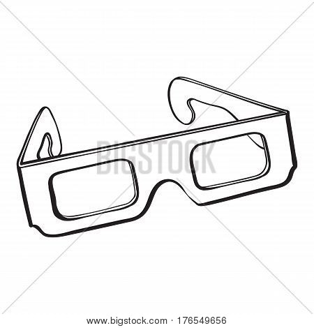 stereoscopic, 3d glasses in black plastic frame, sketch style vector illustration isolated on white background. Hand drawn 3d stereoscopic glasses, cinema object