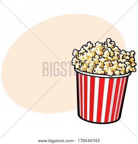 Cinema popcorn in a big red and white striped bucket, sketch style vector illustration with place for text. Popcorn bucket, traditional cinema, movie theatre attribute, food, snack