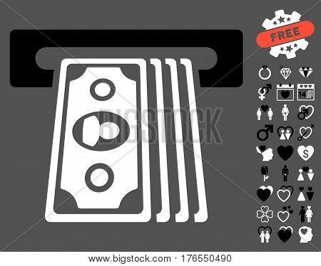 Cashpoint Terminal icon with bonus dating symbols. Vector illustration style is flat iconic symbols on white background.