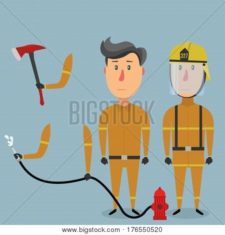 Two firefighters in uniform arm with a fire axe hands holding a fire hose. Pack of body parts and equipment.
