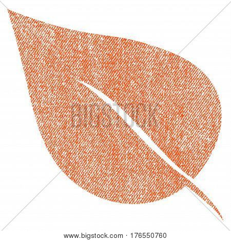 Plant Leaf vector textured icon for overlay watermark stamps. Fabric orange vectorized texture. Symbol with scratched design. Rubber seal stamp with fiber textile structure.