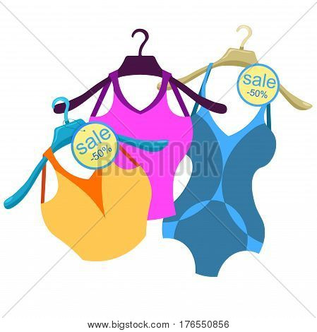 Coat Hanger With A Bathing Suit, A Blue Shirt. Vector Illustration