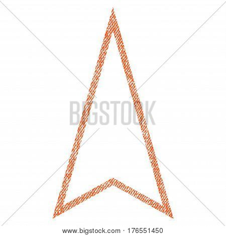 Pointer Up vector textured icon for overlay watermark stamps. Fabric orange vectorized texture. Symbol with scratched design. Rubber seal stamp with fiber textile structure.