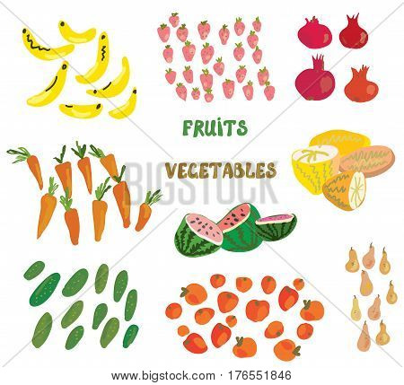 Grocery set with fruits and vegetables - funny style vector graphic illustration