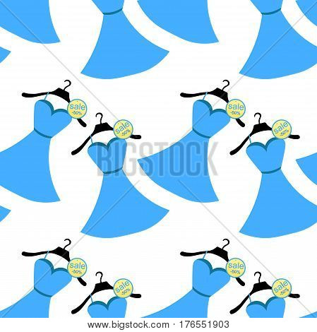 Seamless Pattern In Blue Dress With Coat Hanger. Vector Illustration