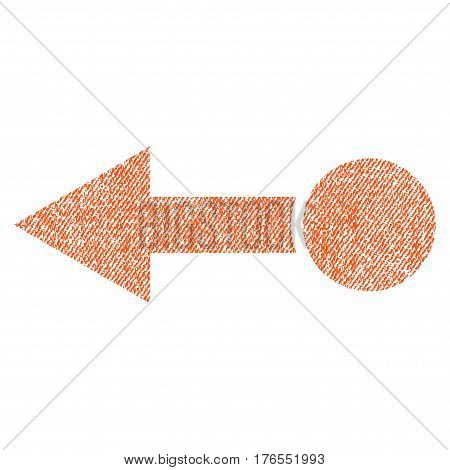 Pull Left vector textured icon for overlay watermark stamps. Fabric orange vectorized texture. Symbol with dirty design. Rubber seal stamp with fiber textile structure.